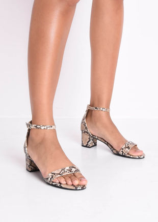 Snake Print Block Heeled Sandals Multi