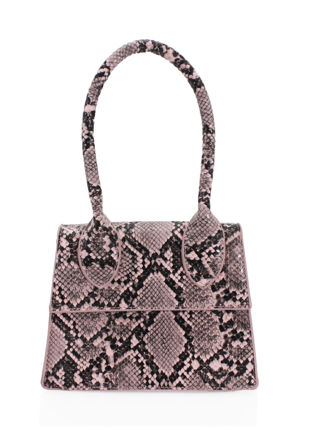 Snake Print Faux Leather Long Handle Grab Mini Bag Pink