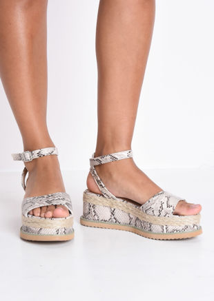 f0500ca08c Snake Print Lace Up Braided Cork Wedge Flat Espadrille Sandals Beige