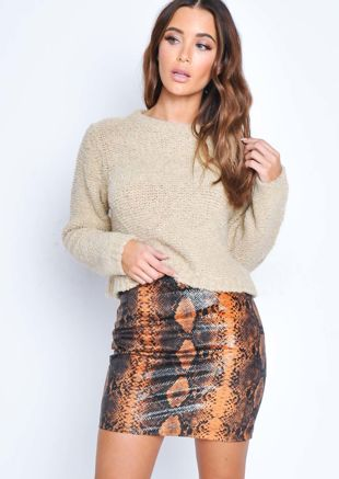 Snake Print Textured Mini Skirt Orange