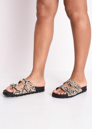 Snakeskin Print Studded Buckle Faux Leather Western Sliders Brown