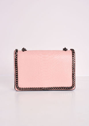 Snakeskin Effect Chain Shoulder Bag Pink