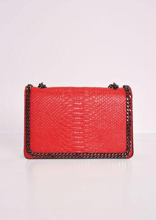 Snakeskin Effect Chain Shoulder Bag Red