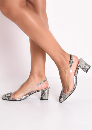 Snakeskin Print Slingback Perspex Court Block Heeled Sandals Brown