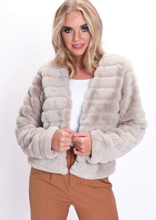 Soft Faux Fur Panel Crop Jacket Beige