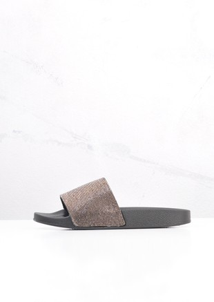 Sparkle Diamante Flat Sliders Black