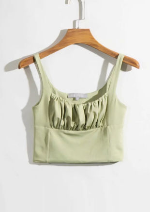 Square Neck Gathered Sleeveless Top Green