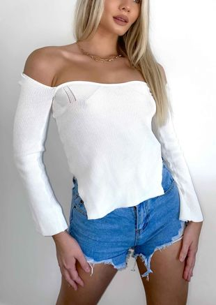 Square Neckline Ribbed Knit Top White