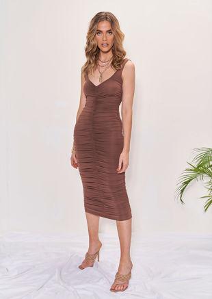 Square Neckline Ruched Side Midi Dress Brown