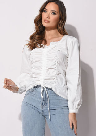 Square Ruffled Neckline Ruched Puff Sleeve Blouse White
