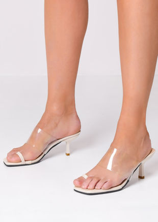 Square Toe Perspex Heeled Mule Sandals Beige