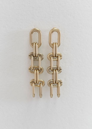 Chunky Link Up Chained Drop Earrings Gold