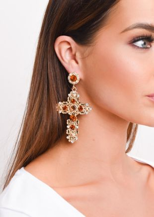 Statement Baroque Cross Drop Earrings Gold
