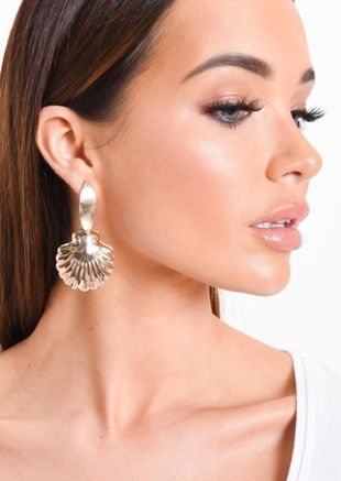 Statement Seashell Drop Earrings Gold