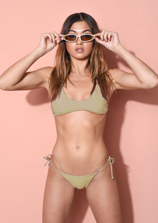 Strappy Bikini Top and Bottom Set Khaki Green