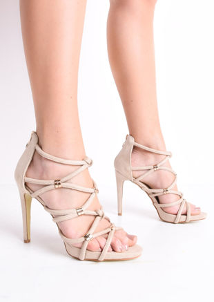 Strappy Faux Snakeskin Heeled Sandals Beige