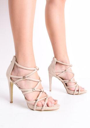 Strappy Faux Snakeskin Heeled Sandals Beige