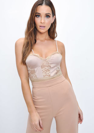 Strappy Lace Panel Satin Bodysuit Beige