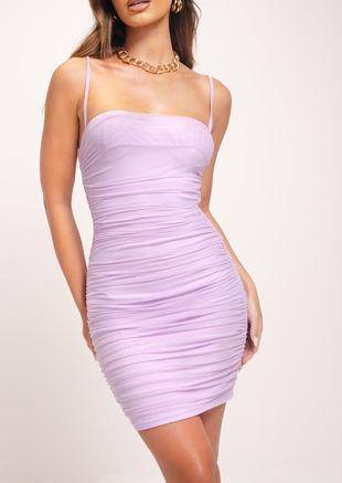 Strappy Mesh Cupped Mini Dress Lilac Purple