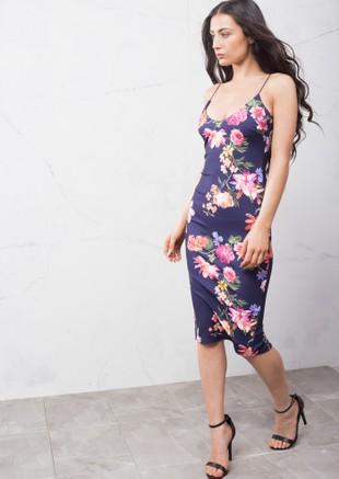 Strappy Plunge Neck Midi Dress Floral Navy Blue