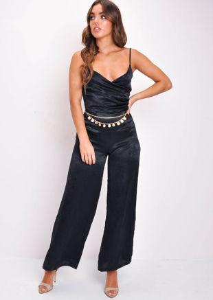 Strappy Wide Leg Wrap Top Jumpsuit Black