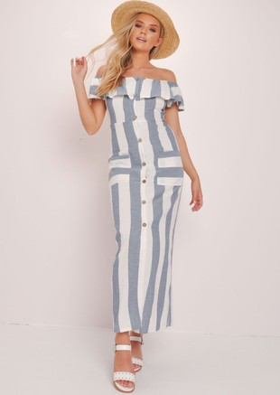 Striped Bardot Button Through Maxi Dress Multi