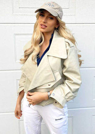 Oversized Metal Ring Strap PU Crop Biker Jacket Beige