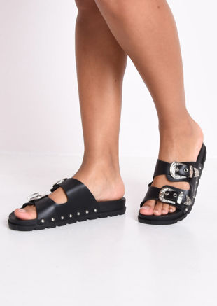 Studded Buckle Faux Leather Western Sliders Black