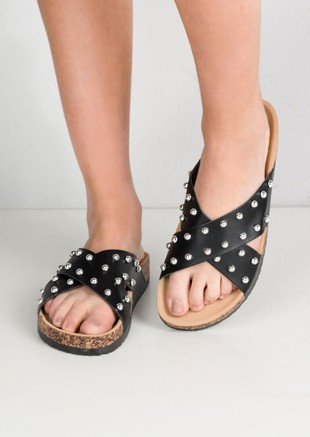 Studded Cross Strap Sliders Black