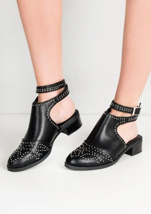 Studded Cut Out Ankle Boots With Buckle Detail Black