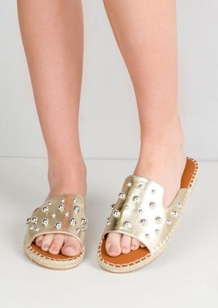 Studded Espadrille Sliders Gold