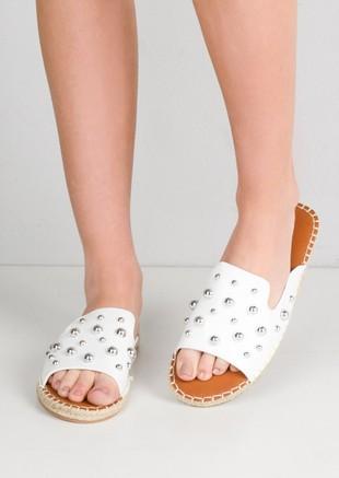 Studded Espadrille Sliders White
