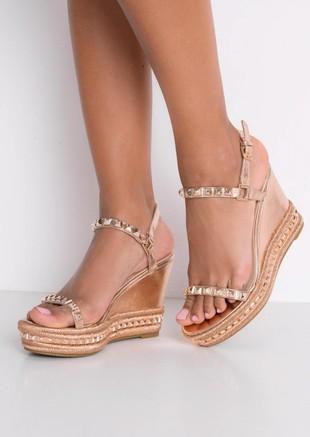 Studded Espadrilles Heeled Platform Braided Wedge Sandals Rose Gold