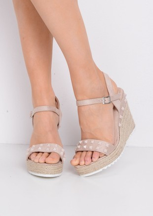 Studded Faux Suede Espadrille Wedge Sandals Nude Beige