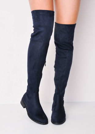 Studded Faux Suede Flat Over The Knee Boots Blue
