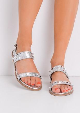 StuddedFlat Sandals Silver