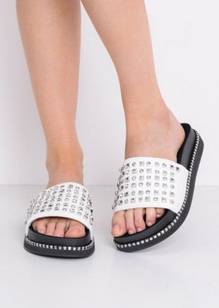 Studded Flatform Sliders White
