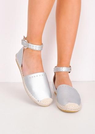 Studded Metallic Espadrille Flats Silver