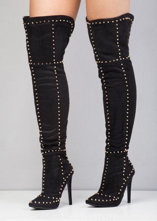 Studded Over the Knee Pointed Toe Heeled Boots Black