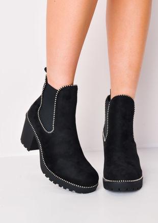 Studded Platform Chelsea Ankle Boots Black