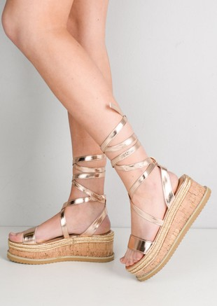 b5f5fcf969b2 Lace Up Braided Cork Wedge Flat Espadrille Sandals Rose Gold