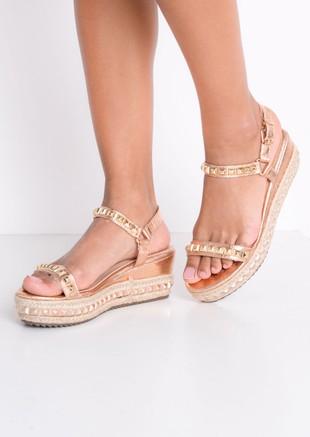 Studded Strappy Wedge Platform Espadrille Sandals Rose Gold
