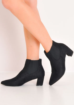 Suede Block Mid Heel Pointed Chelsea Ankle Boots Black