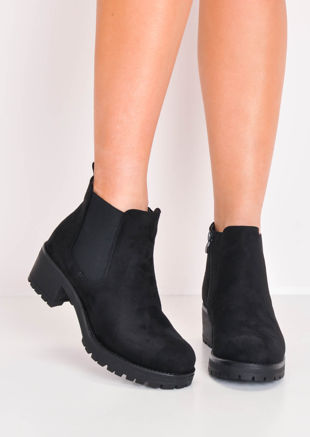 Cleated Platform Elasticated Suede Chelsea Ankle Boots Black