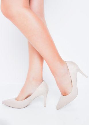 Suede Stiletto Pointed Court Heels Nude Beige