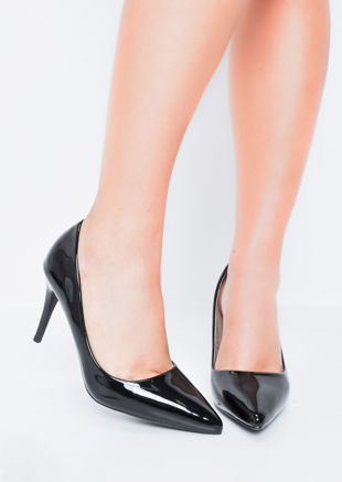 Patent Stiletto Pointed Court Heels Black