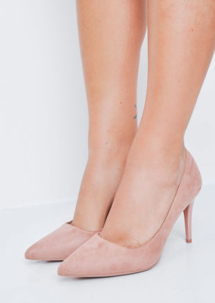 Suede Stiletto Pointed Court Heels Pink