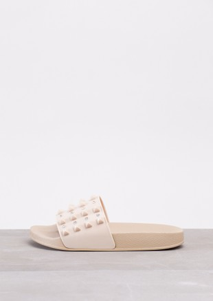 Summer Studded Sliders Beige