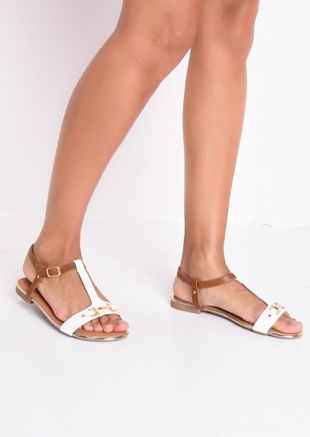 T Bar Gold Detail Flat Sandals White