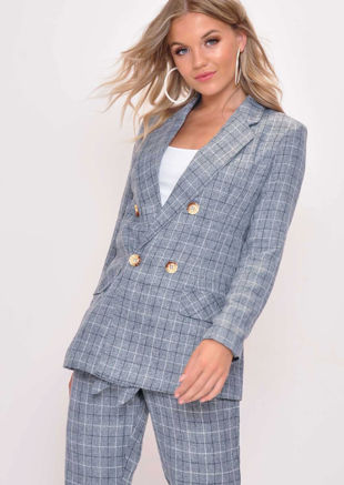 Tailored White Check Blazer Grey